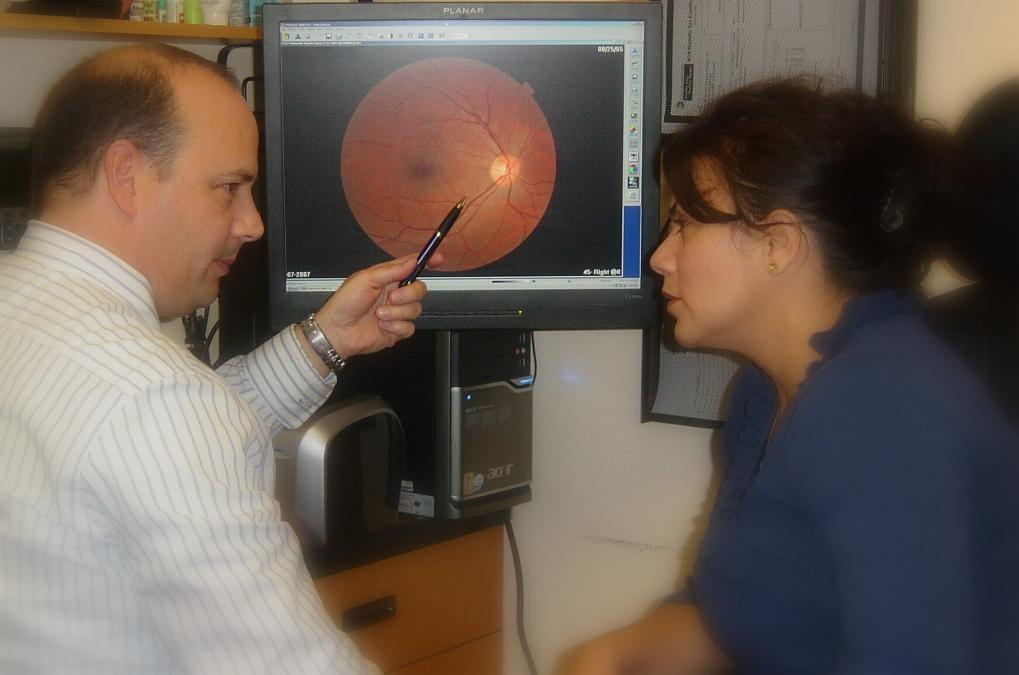 Showing patient retina images